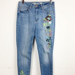 Seven7 Mid Rise Skinny Embroidered Jeans 10